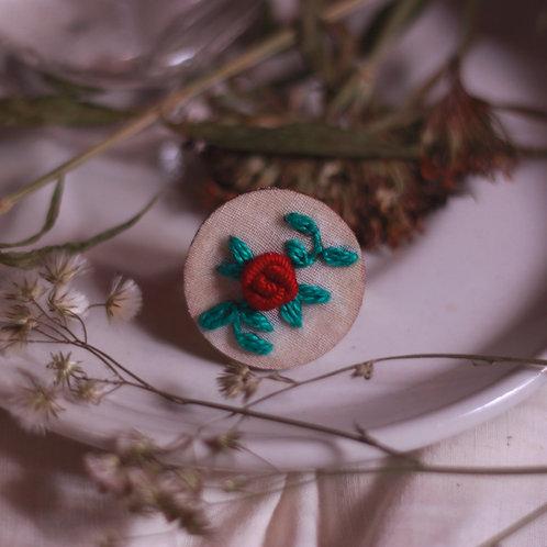 Dark Red Rose Circular Adjustable Ring