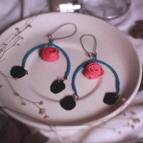 Peach Rose Layered Arc Earrings