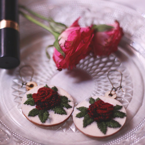 Deep Red Rose Round Embroidered Earrings