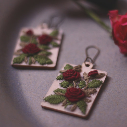 Maroon Rose Rectangular Embroidered Earrings