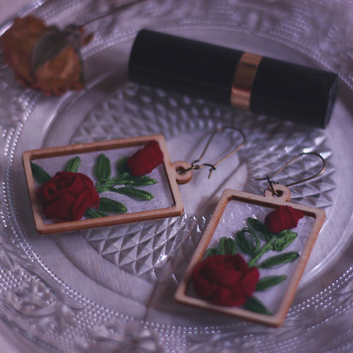 Maroon Rose Rectangular Earrings With Embroidered Leaves