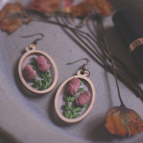 Dusty Pink Rose Branches Oval Earrings