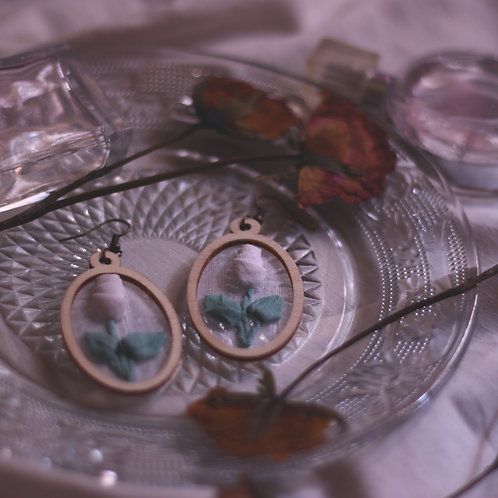 White Rose Branches Oval Earrings