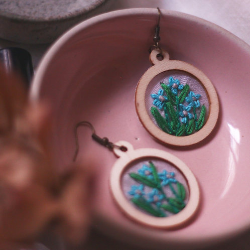 Wild Blue Blossoms Embroidered Earrings