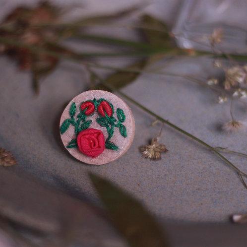 Deep Pink Rose Branch Circular Adjustable Ring