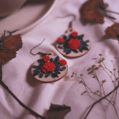 Red Rose Round Embroidered Earrings