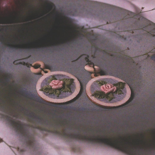Soft Pink Rose Circular Layered Earrings