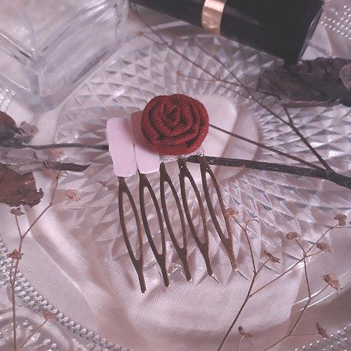 Maroon Rose Rectangles Hair Comb Pin