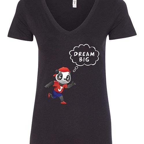 Womans Black V Neck 'DREAM BIG' T Shirt