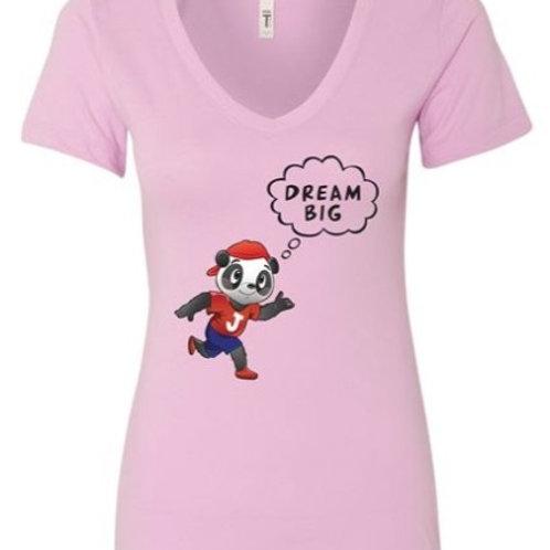 """Woman V- Neck Pink 'DREAM BIG"""" T- Shirt"""