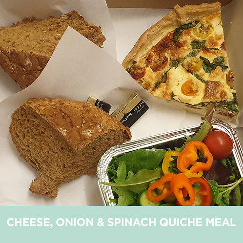 Cheese, onion & spinach quiche meal