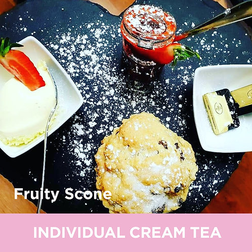 Individual Cream Tea (Large Scone, Clotted Cream & Jam)