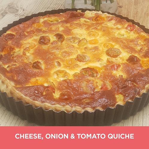 Cheese, onion & tomato quiche meal