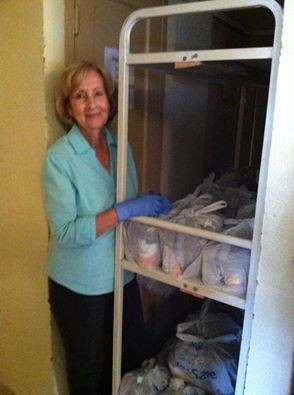 Jewel Gee works inside of the pantry and she handles the USDA that we give out.