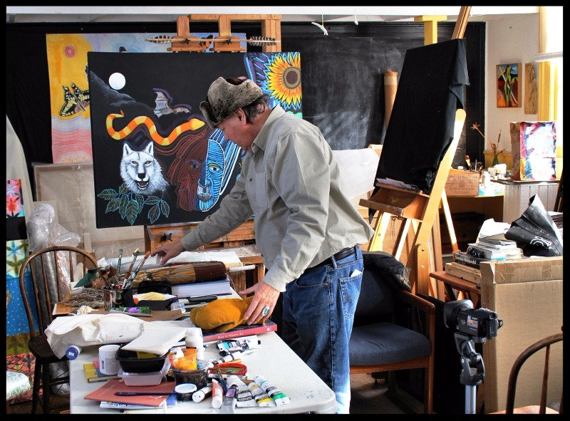 G. Peter Jemison in his art studio