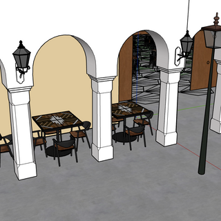 hacienda inspired columns, leading to patio