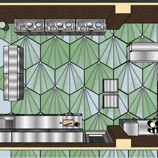aerial view of kitchen