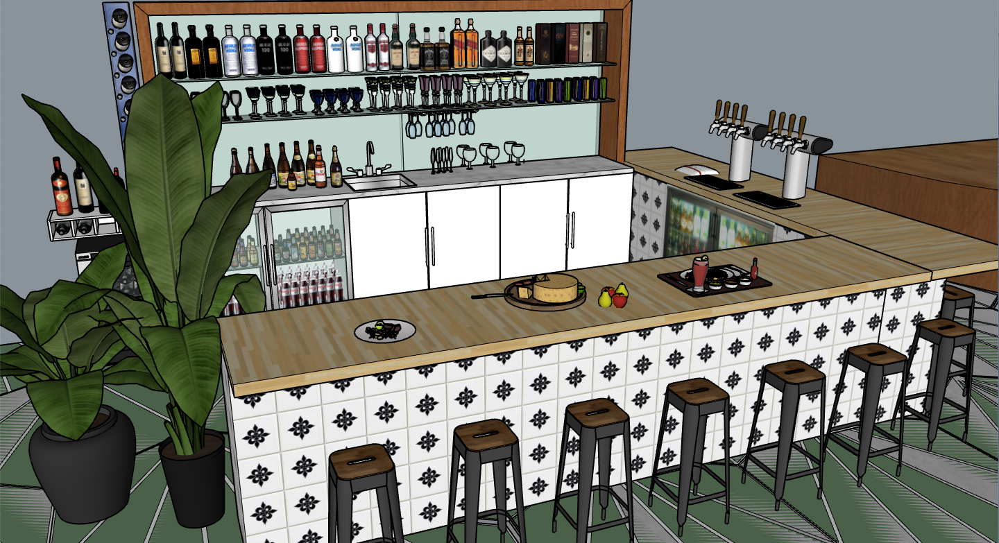 view from left front side of bar