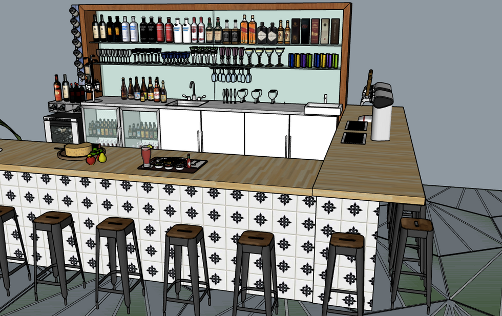 closer view of bar seating