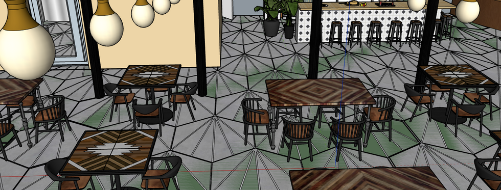 table seating area with view of bar