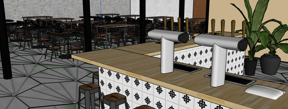 view of table seating area, from right side of bar