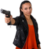 Dark Complected Woman, Pointing Handgun.