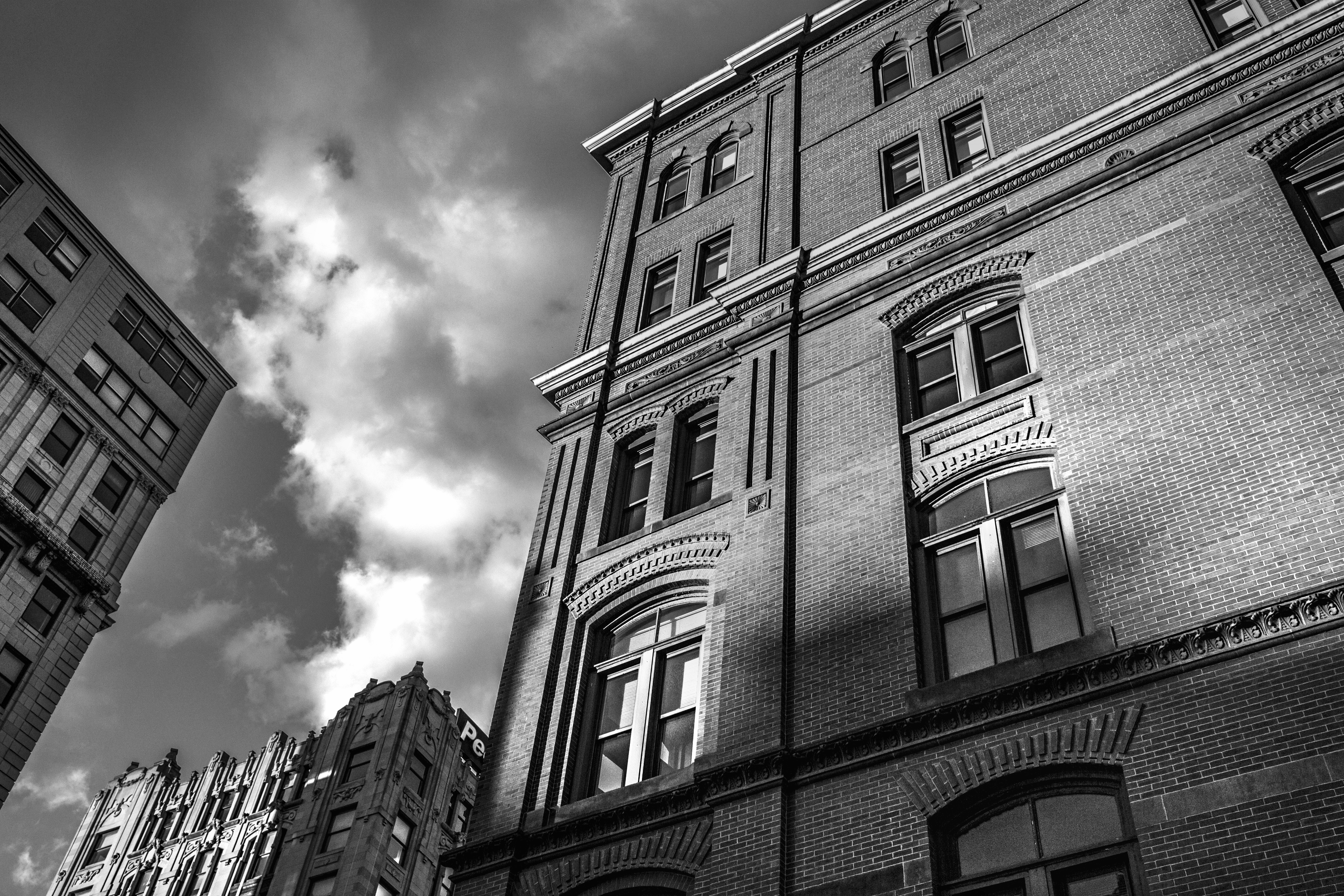 black-and-white-city-building-house