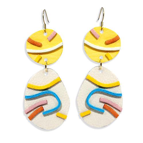"""""""Likha"""" In Yellow and Nude Leather Dangling Earrings"""