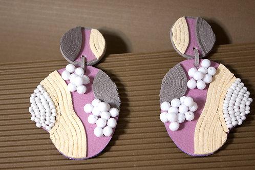"""Maharlika"" Leather Hand Beaded Clip On Earrings"