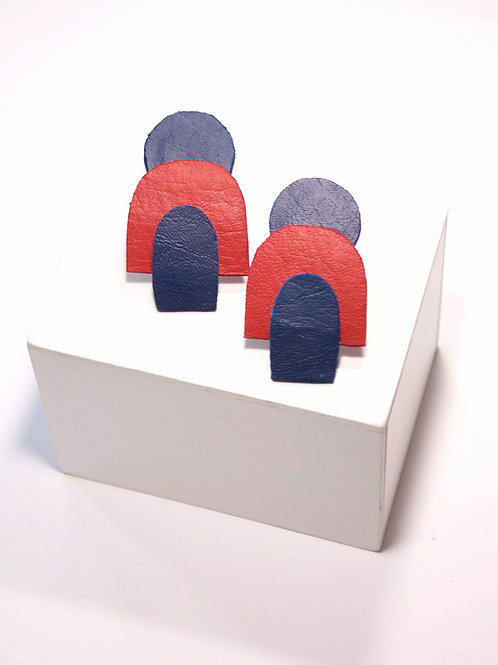 """""""Arise"""" In Navy Blue and Red Clip On Earrings"""