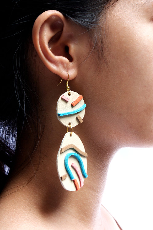 "Likha""Multi-Coloured Leather Dangling Earrings"