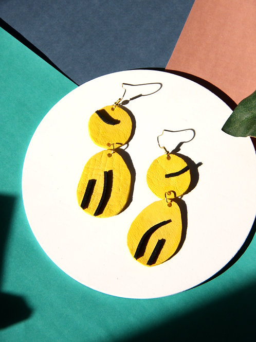 """""""Likha"""" In Starry Yellow and Jet Black Leather Dangling Earrings"""