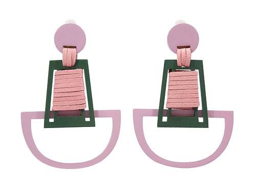 """Brave"" Clip On Earrings in Rosey Pink and Military Green"