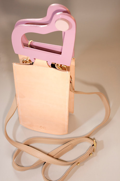 """Likha"" In Rosey Pink Veg-Tanned Leather Bucket Handbag"