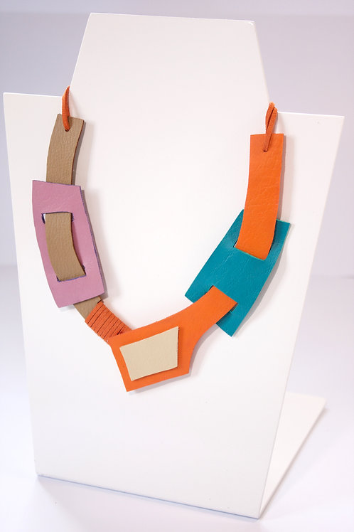 """Jiyu"" In Royal Orange Statement Leather Neckpiece"