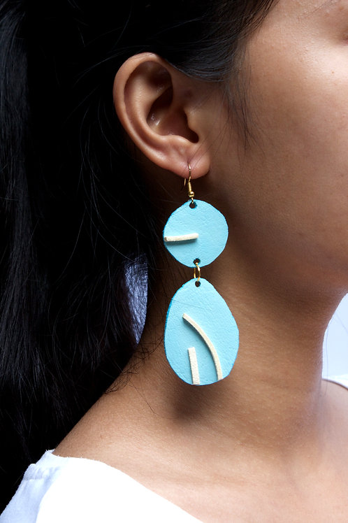"""""""Likha"""" In Heavenly Blue Leather Dangling Earrings"""