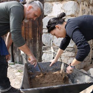 Then we prepare a clay mortar.  От нея забъркваме разтвор.