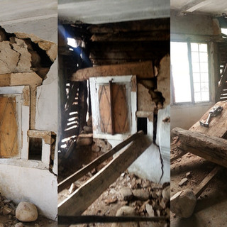 On the upper level, the dismantlement of the compromised masonry wall begins. We successfully remove the integrated wooden cupboard – it is ready to be restored or to be used as an example for the fabrication of a new piece of furniture.  На горния етаж започна свалянето на повредения зид. Успешно демонтирахме вградения долап – готов за реставрация или като мостра за нова изработка.