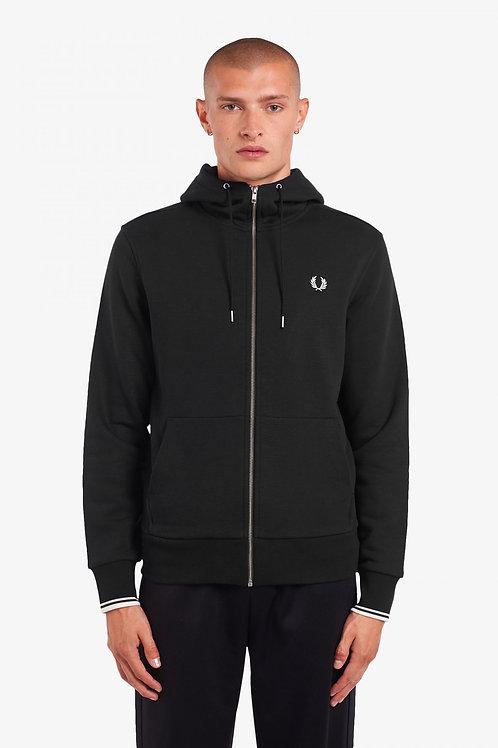 Hooded Zip Through Sweatshirt-Black