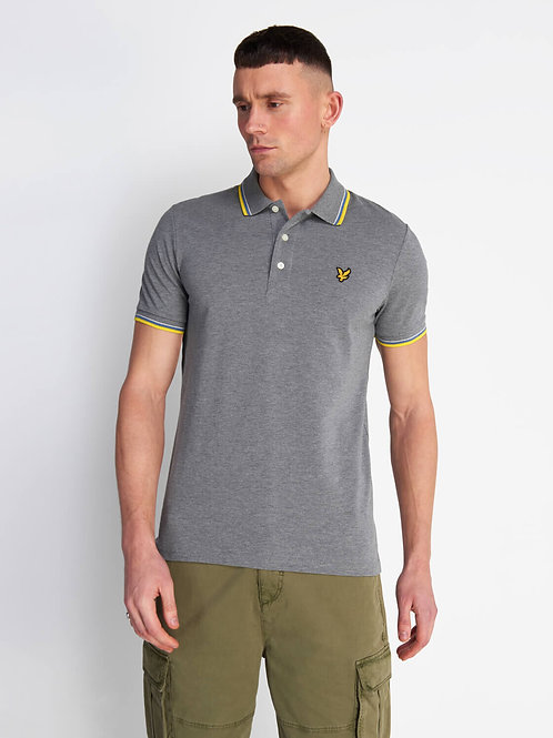 Tipped Polo Shirt- MID GREY MARL/BUTTERCUP YELLOW