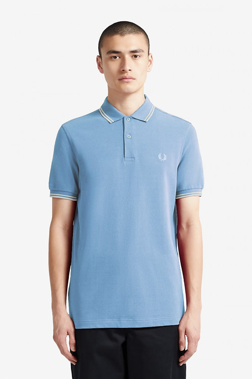 Twin Tipped Fred Perry Shirt-Sky/Snow/Snow