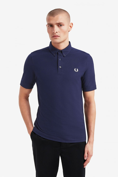 Button Down Polo Shirt-Carbon Blue