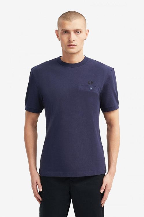 Pocket Detail Pique T-Shirt-Carbon Blue