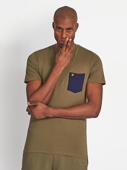 Contrast Pocket T Shirt-Licher Green/navy