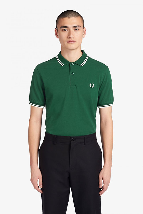 Twin Tipped Fred Perry Shirt-Ivy/White/White