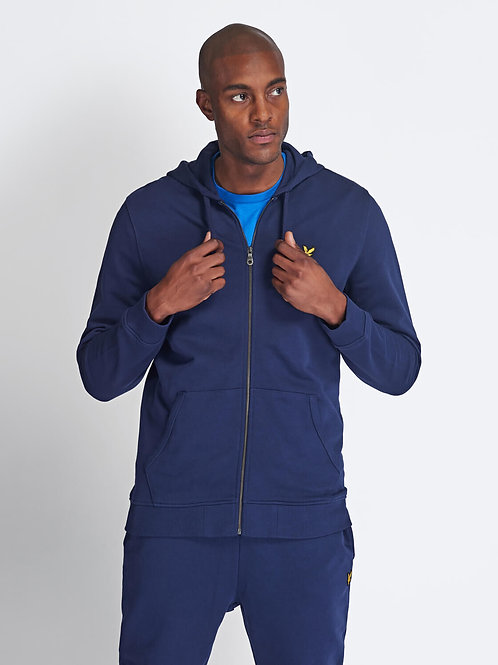 Zip Through Hoodie-Navy