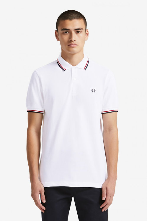 Twin Tipped Fred Perry Shirt-White / Bright Red / Navy