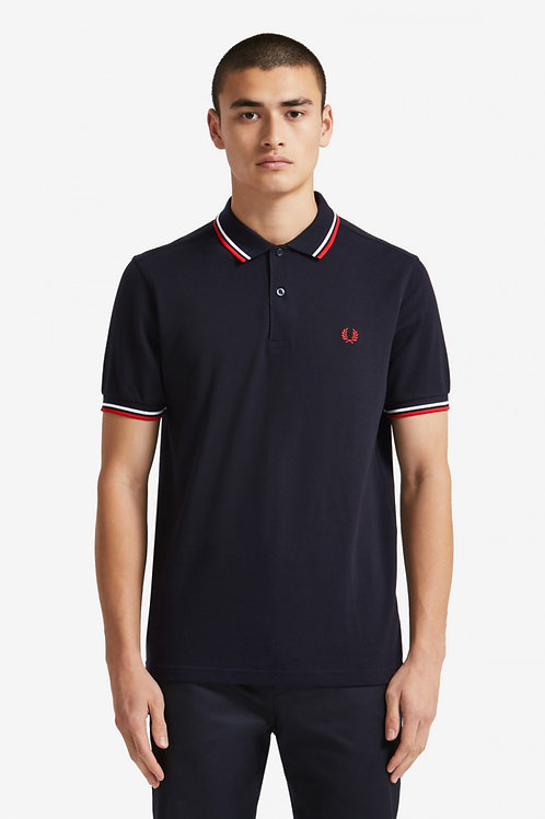 Twin Tipped Fred Perry Shirt-Navy / White / Red