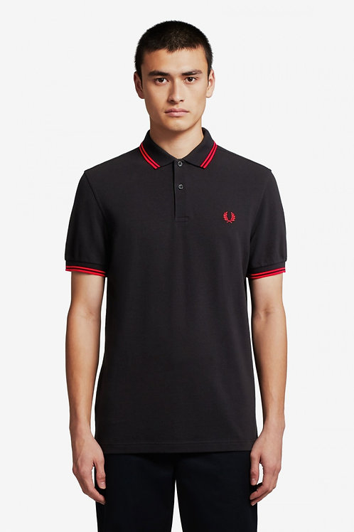 Twin Tipped Fred Perry Shirt-Black/Red/Red