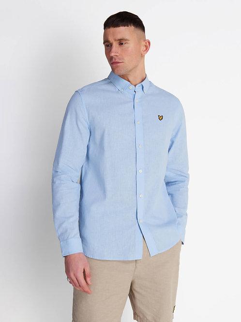 Cotton Linen Shirt-Pool Blue